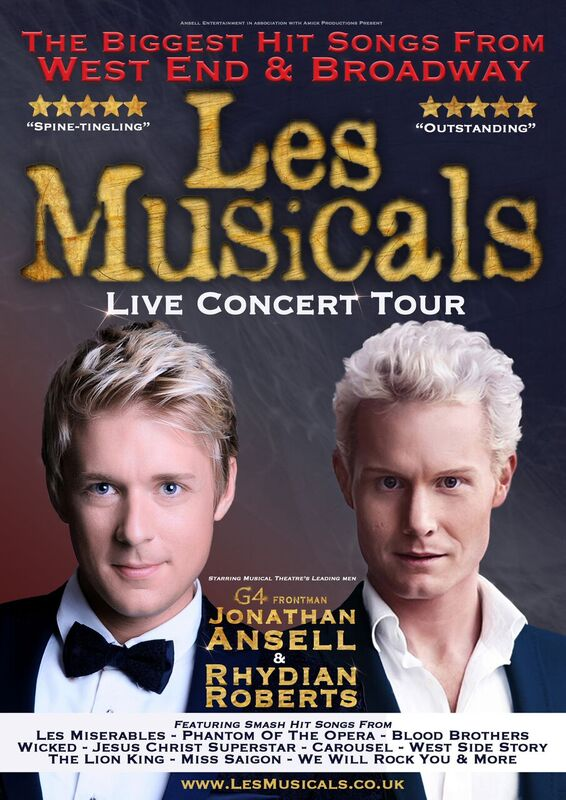 Thursday 21 June at 7.30pm Tickets - £23.50 VIP Meet & Greet - £56Les Musicals presents the biggest hit songs from the West End & Broadway in this exhilarating live concert tour. Musical theatre's leading men and X Factor stars; Jonathan Ansell (G4 frontman) & Rhydian Roberts join forces for the first time ever to create a dramatic & spine-tingling concert. This vocally-dynamic evening showcases the smash hit songs from the greatest musicals of all time, brought to you by two of the world's finest voices.  Come and immerse yourself into the world of musical theatre with classics from Les Miserables, Phantom Of The Opera, Blood Brothers, Wicked, Jesus Christ Superstar, Carousel, West Side Story, The Lion King, Miss Saigon, Chess, Rocky Horror Show, We Will Rock You & many more.  VIP tickets are available, which include a pre-show Meet & Greet with Jonathan Ansell and Rydian Roberts at 6pm, where you'll be served a glass of wine and have the chance to meet them up-close and take photos & autographs.